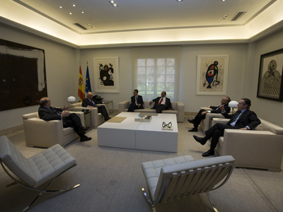 Zapatero en una reunión con banqueros